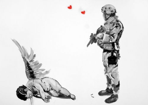 BANKSY - DEAD ANGEL canvas print - self adhesive poster - photo print